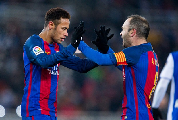 Image result for andres iniesta with Neymar