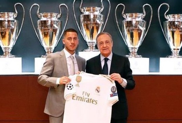 Image result for Hazard unveiled to 50,000 Real Madrid fans at Santiago Bernabeu